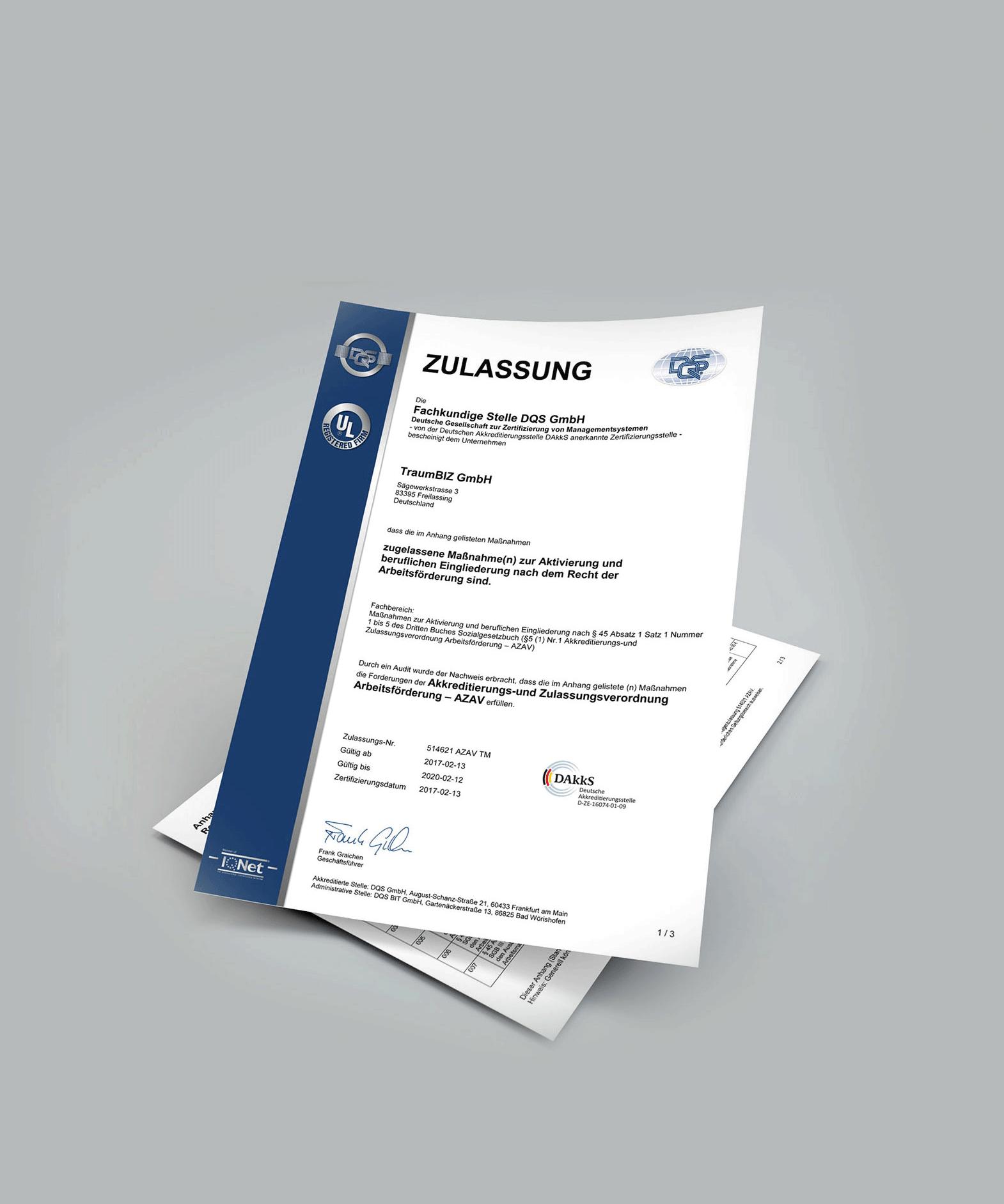Zertifikat der DQS Stelle für AZAV Arbeitsmarktinstrumente